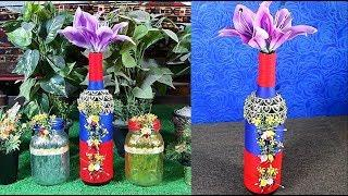 How to Make a Vase for Flowers from Wine Bottle – Crafts and Decoration