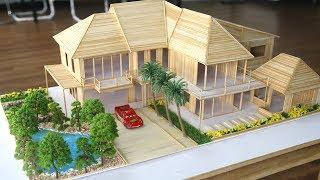 How to make a Wooden Stick House with flower garden and a lake
