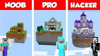 Minecraft NOOB vs PRO vs HACKER: SECRET SKY HOUSE BUILD CHALLENGE in Minecraft / Animation
