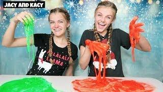 No Bowl No Spoon Christmas Slime Challenge ~ Jacy and Kacy
