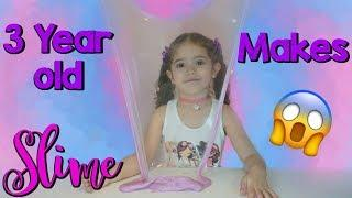 3 year old little girl makes slime| Diy Color Glitter Glue Slime Challenge