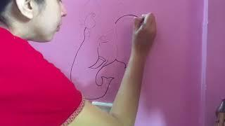 Wall painting on Switch board Ganesha step by step