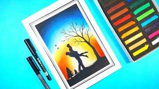 How to draw romantic couple moonlight scenery drawing for beginners | with soft pastes