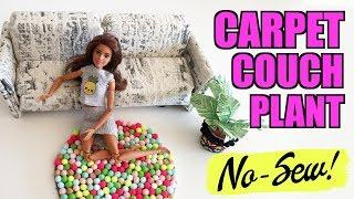 How to make a carpet for the house of your Barbie doll. No Sewing! Extra DIY Sofa and plant.