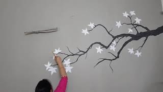 White Cherry Blossom Tree Painting on Wall | Babita Keshan