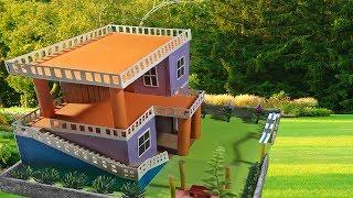 How To Make A Colorfull Morden House With Cardboard DIY Garden villa