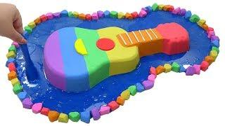 DIY How To Make Guitar in Pond with Kinetic Sand, Slime, Play Doh