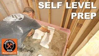How to Self Level Bathroom Floors Part 1...Prep Concrete Basement Floor -- by Home Repair Tutor