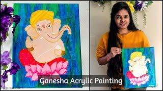 Acrylic Painting on Canvas|Canvas Painting ideas|Ganesha Wall Painting|Canvas Painting for beginners