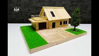 How to make a wooden house with a beautiful garden and Christmas tree with LED light