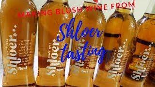 making a blush wine from shloer, tasting