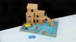 How To Make A Beautiful Mansion House From Cardboard - Dream House - Project For Kids very Easy
