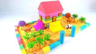 Learn Colors and How To Make Rainbow House On Stilts with Kinetic Sand, Mad Mattr, Animals