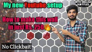 How to make hexagonal shapes in wall using paint DIY | Best youtube setup | Youtube wall cheap setup