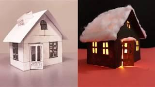 PAPER CRAFTS - CHRISTMAS HOUSE - HOW TO MAKE A PAPER CHRISTMAS HOUSE - Holiday House