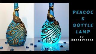 Peacock Bottle Lamp/Bottle Art/Wine Bottle art