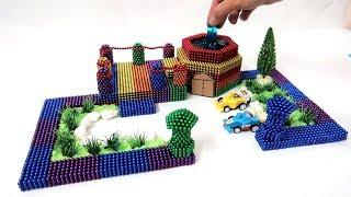 DIY - How To Build Rainbow House & Mini Swimming Pool From Magnetic Balls, ASMR - Magnets Colors