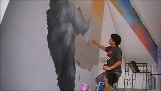 เพ้นท์กำแพง ( Airbrush painting on wall )