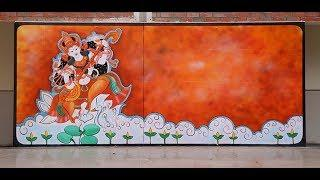 How to make Wall Painting || Free Hand || Stage Area || Use spray gun & compressor