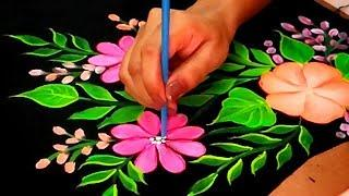 How To Paint Free Hand Corner Design using NEON Colors | Fabric Painting Corner Design