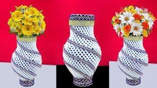 Plastic Bottle Flower Vase with Apple foam Net | How to Make a Homemade Flower Vase