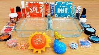 Sun vs Sea - Mixing Makeup Eyeshadow Into Slime! Special Series 90 Satisfying Slime Video