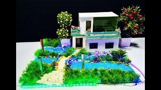How to make Beautiful Cardboard House Cardboard Garden Villa   Model