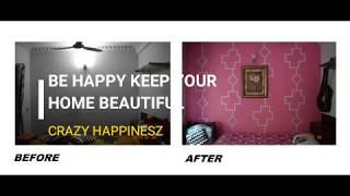 WALL PAINTING IDEA||ROYALE WILD PINK COLOR ||WALL ART DIY|| WALL PAINTING FOR BEDROOM