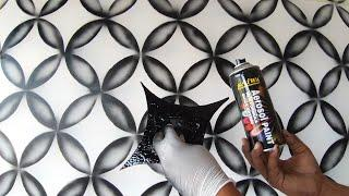 WALL PAINTING 3D EFFECT DESIGN  / using BLACK SPRAY