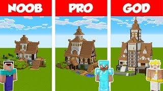 Minecraft NOOB vs PRO vs GOD: VILLAGE HOUSE BUILD CHALLENGE in Minecraft /Animation