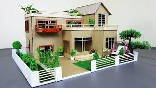 How to Make a Mansion House From Cardboard & Bamboo Stick With Fairy Garden - Dream house - Model 02