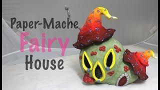 DIY Easy How To Make a Paper-Mache Mushroom Fairy House Night Light Lamp