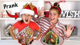 Blindfolded Gingerbread House Decorating Challenge | Prank | Marissa and Brookie