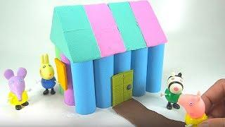 Kinetic Sand Rainbow DIY How to Make House Peppa Pig Toys Learn Colors For Kids