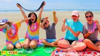 MAKING SLIME AT THE BEACH! (BEACH SLIME)