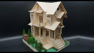 Building Popsicle Stick Garden Villa House - Popsicle stick House - New Model