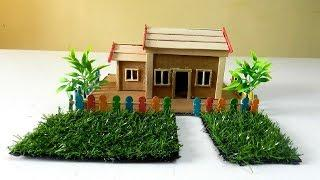 How To Make A Beautiful House from Cardboard and Popsicle Sticks #34 - Crafts Ideas