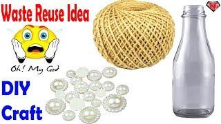 How To Make A Decoration Empty Bottle Out of Rope    DIY Wine Glass Bottle Wrapped Using Jute