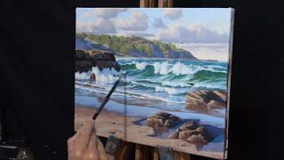 How to Paint a Coastal Scene - Painting Norah Head on the Central Coast, Australia