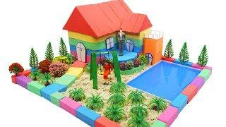 DIY How To Make Happy House with Kinetic Sand, Mad Mattr, Slime, Model Trees and Learn Colors