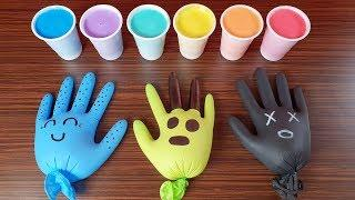Making Slime With Gloves Mixing Ingredients - And Cups