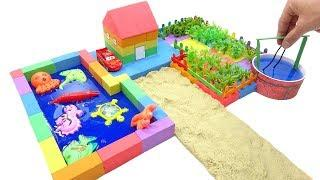 DIY How To Make Garden House w Fish Pond with Kinetic Sand | Video for Kids