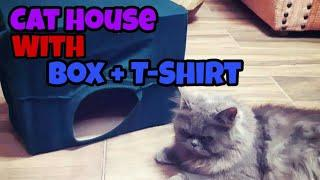How To Make A Cat House | DIY | With A Box + T-Shirt