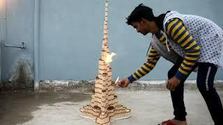 How to make match house /BURJ KHALIFA and burning it/matches tricks