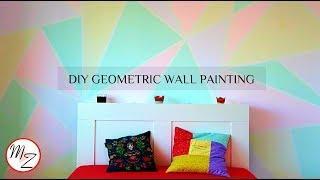 DIY Geometric Wall Painting Designs using scotch tape (EASY) | Room makeover DIY | Maison Zizou