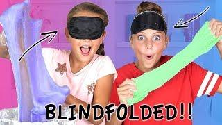 Blindfolded Slime Challenge | How to Make Super Messy Slime!! | Marissa and Brookie