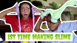 LITTLE KID TEACHES ME HOW TO MAKE SLIME !!!