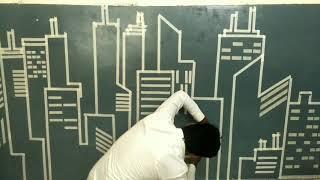 city skyline painting on wall