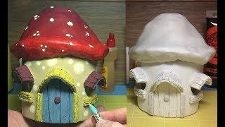 How to Make  a Paper Clay Mushroom Fairy House Night Light
