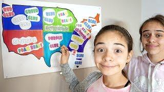 Throwing a Dart at a Map And Making Slime Challenge!!